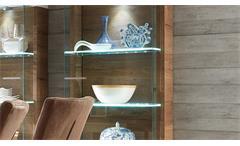 Glasvitrine Vitrine Light Line 2 weiß matt lackiert und Kanada Eiche inkl. LED
