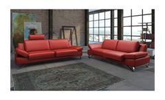 Sofa 3-Sitzer Finest Polstermöbel in kaminrot rot mit Funktionen 228 cm