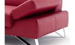 Sofa 2,5-Sitzer Finest Polstermöbel in Leder kaminrot rot mit Funktionen 210 cm