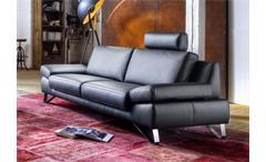 Sofa 3-Sitzer FINEST in Leder schwarz mit Funktionen