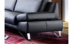 Sofa 3-Sitzer Finest Polstermöbel in Leder schwarz mit Funktionen 228 cm