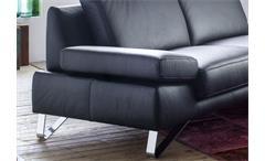 Sofa 2,5-Sitzer Finest Polstermöbel in Leder schwarz mit Funktionen 210 cm