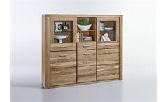 Highboard Tabea Buffet Vitrine Schrank in Wildeiche teil-massiv