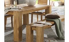 Tischgruppe Takania Esszimmer Tisch 4 Stühle und Bank in Kern Eiche massiv geölt