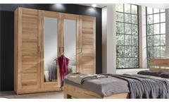 Kleiderschrank Lia 4S Schlafzimmerschrank in Kernbuche 4-türig mit Spiegel 202