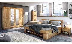 Schlafzimmer Set 4-tlg Sarah-Toni Wildeiche teilmassiv Bett 180 Schrank 4-trg