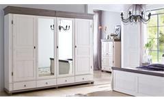Kleiderschrank Oslo Kiefer massiv weiß lava Drehtürenschrank 4-trg mit Spiegel