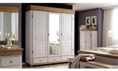 Kleiderschrank Oslo Kiefer massiv weiß antik Drehtürenschrank 3-trg mit Spiegel