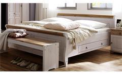 Bett Oslo Doppelbett Kiefer massiv weiß antik 180x200cm mit 2 Schubkästen