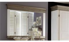 Spiegel OSLO in Kiefer massiv weiß und lava grau 101,3x88 cm für Schlafzimmer