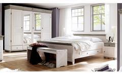 Schlafzimmer Oslo 4-tlg Set Kiefer massiv weiß lava 4-trg Schrank Bett 180x200cm