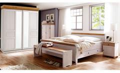 Schlafzimmer OSLO 4-tlg Set Kiefer massiv weiß antik mit Schweber