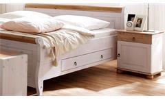 Schlafzimmer Oslo 4-tlg Set Kiefer massiv weiß und antik Schweber Bett 180x200