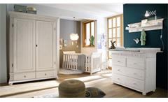 Babyzimmer Set Helsinki 4-teilig Kiefer Massivholz weiß Kinderzimmer Komplettset