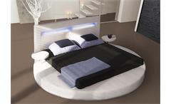 Designer Bett Round Schlafzimmer Bett in weiß inklusive Beleuchtung 180x200