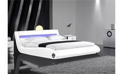 Polsterbett PACAS Weiß inkl. LED - 180x200