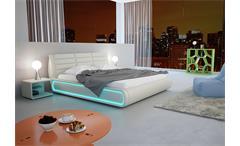 Polsterbett Sonic Bett Futonbett in weiß inkl. LED Lichtrahmen 180x200