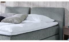 Boxspringbett Couture Hotelbett in Stoff grau mit Kopfteil Topper 180x200 Femira