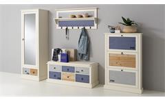 Garderoben-Set Sylt Dielenmöbel Flurmöbel MDF weiß bunt lackiert Landhaus 4 tlg