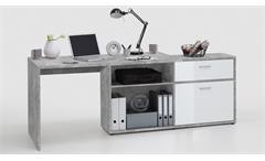 Winkelschreibtisch Diego Bürotisch mit Regal in Beton Optik und weiß Hochglanz