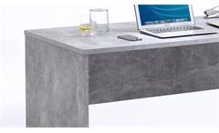 Schreibtisch Brick Bürotisch Beton Optik und weiß Hochglanz inkl. Rollcontainer