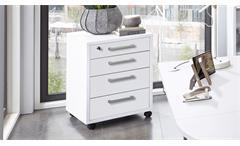 Rollcontainer Calvia 4 Bürocontainer in weiß abschließbar Arbeitszimmer Büro