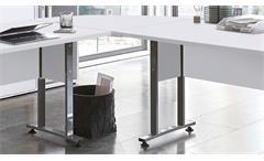Winkelschreibtisch Calvia 120/160 Eckschreibtisch mit Rollcontainer in weiß
