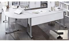 Winkelschreibtisch Calvia 120/160 Eckschreibtisch Schreibtisch weiß Metallkufen