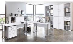 Arbeitszimmer Calvia Büro Set weiß Schrankwand Regal Winkelschreibtisch