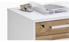 Rollcontainer Calvia 4 Bürocontainer Rollwagen weiß und Alteiche abschließbar