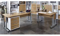Winkelschreibtisch Calvia Winkeltisch mit Rollcontainer weiß Alteiche 240x200 cm