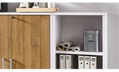 Regalwand Calvia Regal Anrichte Sideboard Schrank weiß und Alteiche abschließbar