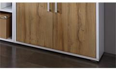 Aktenschrank Calvia Büroschrank Schrank 4-türig weiß und Alteiche abschließbar