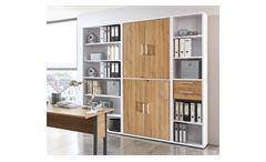 Regalwand Calvia Regal Aktenschrank Schrank Büro-Set weiß Alteiche abschließbar