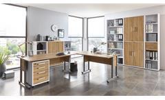 Arbeitszimmer CALVIA Büro Komplett Set weiß und Alteiche abschließbar