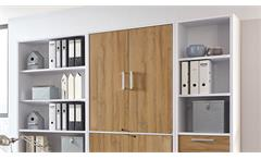 Arbeitszimmer Calvia Büro Komplett Set Regal Schrank weiß Alteiche abschließbar