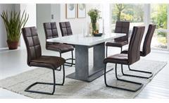 Esstisch Fiss Säulentisch weiß Edelglanz und Beton dunkel ausziehbar 160-230 cm