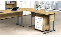 Rollcontainer DALLAS Bürocontainer Artisan Eiche weiß