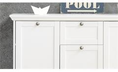 Kommode Landwood Sideboard Stauraumelement in weiß mit 3 Türen Landhausstil