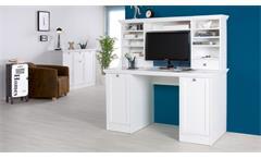 Schreibtisch Landwood Bürotisch in weiß inkl. Aufsatz 136x137 cm Landhausstil