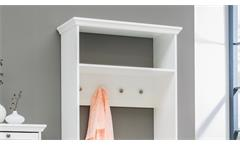 Kompaktgarderobe Landwood Garderobe Flur Diele in weiß mit 4 Haken Landhausstil