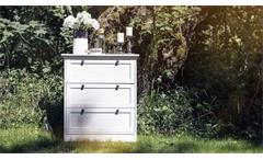 Kommode Landwood Anrichte Aufbewahrung in weiß mit 3 Schubkästen Landhausstil