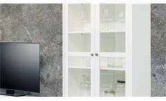 Vitrine Landwood Standvitrine Glasvitrine in weiß mit 2 Schubkästen Landhausstil