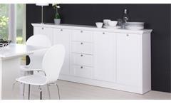 Sideboard Landwood Anrichte Kommode in weiß mit 4 Schubkästen Landhausstil