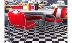 Bank Elvis American Diner 50er Jahre Rockabilly Sitzbank in rot Gestell Chrom