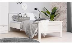 Bett LANDWOOD Bettgestell in weiß mit Kopfteil 90x200 cm Landhausstil