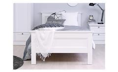 Bett Landwood Bettgestell Futonbett in weiß mit Kopfteil 90x200 cm Landhausstil