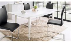 Esstisch Landwood Esszimmertisch in weiß ausziehbar 160-200x90 cm Landhausstil