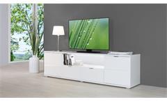 TV-Board Glossy Lowboard Unterschrank HiFi Schrank weiß Hochglanz Sonoma Eiche