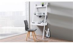 Schreibtisch HANRY Retro Büro Arbeitstisch mit Ablage Regal in Weiß